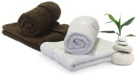 Story@home 4 Piece Cotton Bath Linen Set(White, Brown, Pack of 4)
