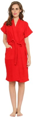 FeelBlue Red Free Size Bath Robe(Terry Bath Robe, For: Women, Red)
