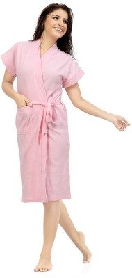 Be You Light Pink Free Size Bath Robe(1 Bathrobe, For: Women, Light Pink)