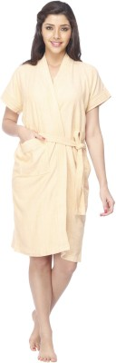 Vixenwrap Cute Yellow Free Size Bath Robe(1 Bath Robe, 1 Belt, For: Women, Cute Yellow)