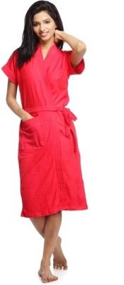 Superior Red Free Size Bath Robe(Bath Robe, For: Women, Red)