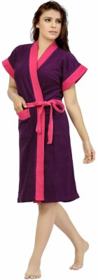 Be You Voilet Free Size Bath Robe(1 Bathrobe, For: Women, Voilet)