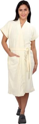 V Brown White Free Size Bath Robe