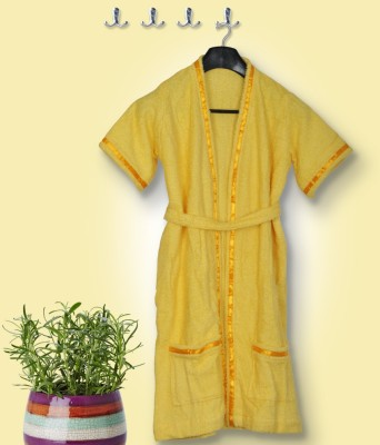 Skumars Love Touch Yellow Medium Bath Robe