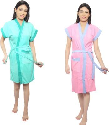 VeenaDdesigner Light Green, Pink Free Size Bath Robe