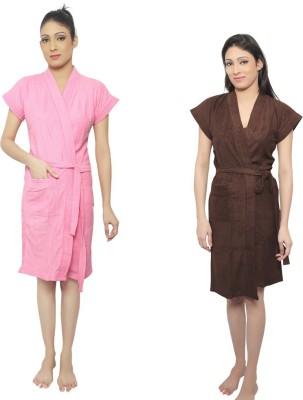 VeenaDdesigner Pink, Brown Free Size Bath Robe
