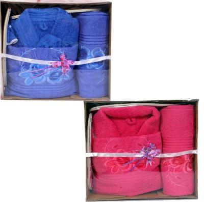 zasmina Blue, Pink Free Size Bath Robe