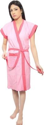 VeenaDdesigner Pink, Pink Free Size Bath Robe