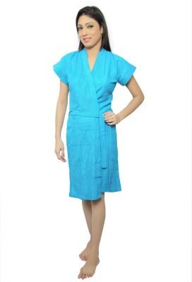 VeenaDdesigner Blue Free Size Bath Robe