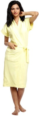 V Brown Yellow Free Size Bath Robe