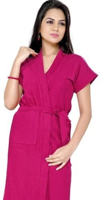 Superior Pink Free Size Bath Robe