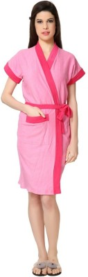 FeelBlue Pink-Rani Free Size Bath Robe(Bath Robe, For: Women, Pink-Rani)