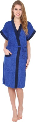 Superior Dark Blue Free Size Bath Robe(Bath Robe, For- Women, Dark Blue)