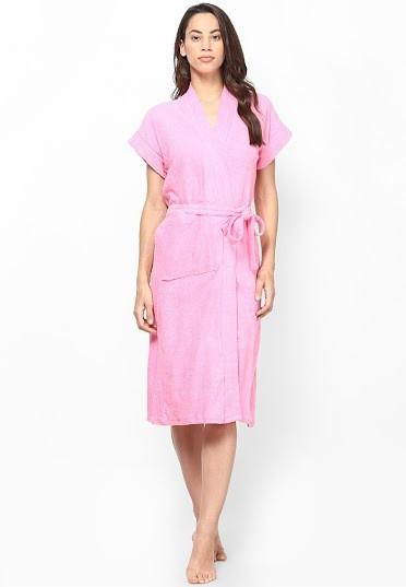 Superior Pink Free Size Bath Robe