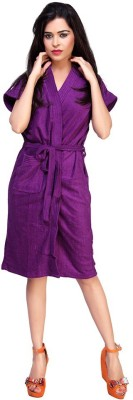 FeelBlue Violet Free Size Bath Robe(Bath Robe, For: Women, Violet)