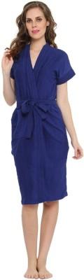 FeelBlue Royal Blue Free Size Bath Robe(Bath Robe, For: Men, Royal Blue)