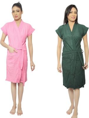 VeenaDdesigner Pink, Green Free Size Bath Robe