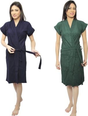 VeenaDdesigner Dark Blue, Green Free Size Bath Robe