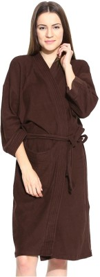 V Brown Brown Free Size Bath Robe