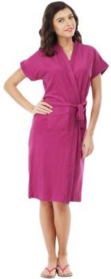 V Brown Pink Free Size Bath Robe