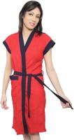Superior Red-navy Free Size Bath Robe(Bathrobe, For: Men & Women, Red-navy)