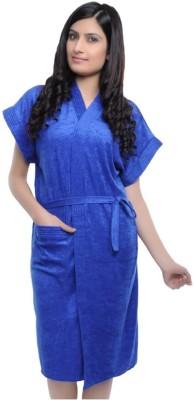 V Brown Blue Free Size Bath Robe