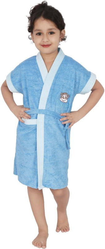 Superior Light Blue Small Bath Robe(Bath Robe, For: Girls, Light Blue)