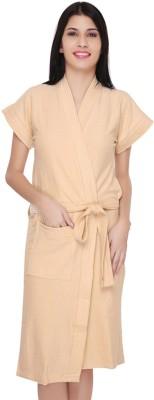 V Brown Beige Free Size Bath Robe