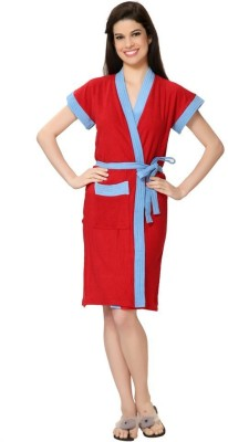 FeelBlue Red-Sky Free Size Bath Robe(Double Shaded Bath Robe, For: Women, Red-Sky)