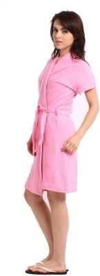 FeelBlue Peach Free Size Bath Robe(Cotton Bath Robe, For: Women, Peach)
