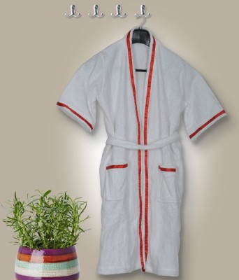 Skumars Love Touch White Medium Bath Robe