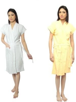 VeenaDdesigner White, Yellow Free Size Bath Robe