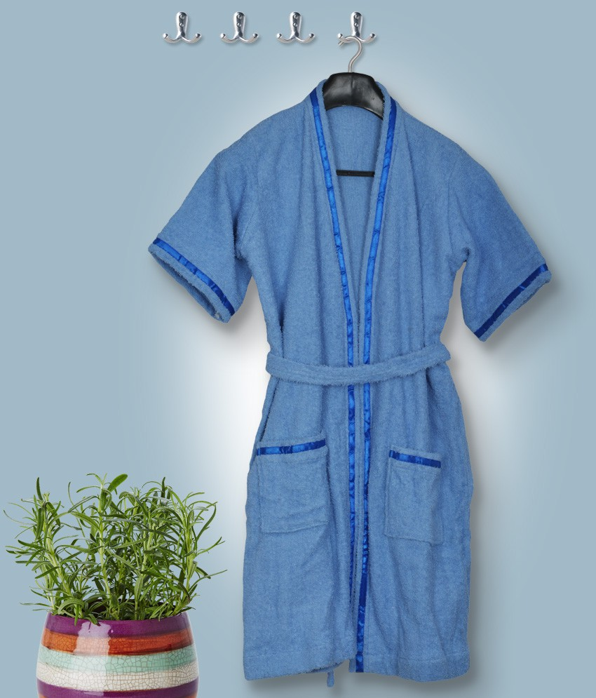 Skumars Love Touch Blue Medium Bath Robe