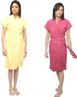 VeenaDdesigner Yellow, Pink Free Size Bath Robe