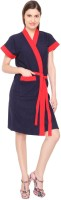 Superior Navy-Red Free Size Bath Robe(Bathrobe, For: Men & Women, Navy-Red)