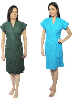 VeenaDdesigner Green, Blue Free Size Bath Robe