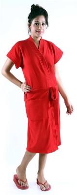 V Brown Red Free Size Bath Robe