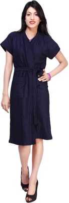 FeelBlue Navy Blue Free Size Bath Robe(Bath Robe, For: Women, Navy Blue)