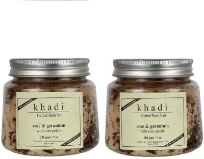 Khadi Natural Herbal Bath Salt - Rose & Geranium with Rose Petals(400 g)