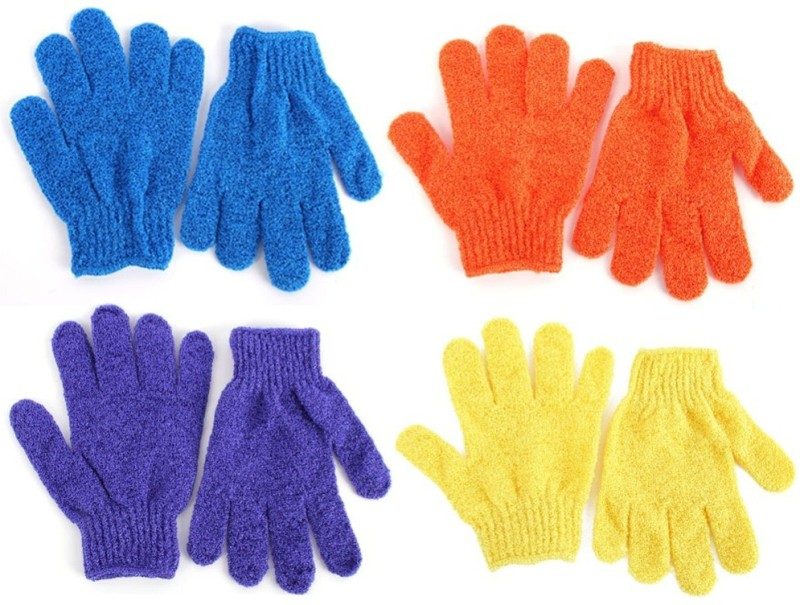 sukot 4 Pair Bath Gloves Body Face Skin Sponge Scrubber