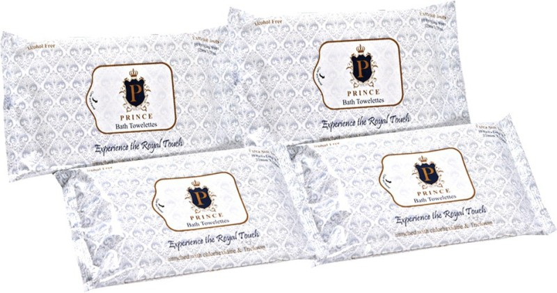 Prince Prince Bath Towelettes (Bed Bath Towels) (Pack of 4) (10 XL Towels per pack)