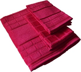 Solitaire by Ashwani Wadhwa Cotton Bath & Hand Towel Set(Pack of 3, Hot Pink)