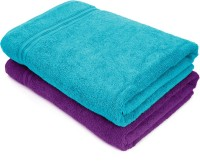 Swiss Republic Cotton Bath Towel(Pack of 2, Light Blue, Purple)