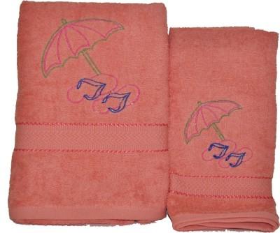 Purple Circle Cotton Bath & Hand Towel Set