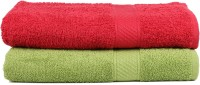 Trident Cotton Set of Towels(Pack of 2, Dark Green, Red)