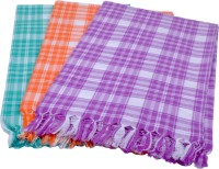 Sathiyas Cotton Bath Towel(Pack of 3, Purple, Orange, Green)