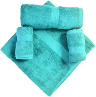Bombay Dyeing Cotton Bath Towel, Hand Towel Set(Pack of 4, Light Blue)
