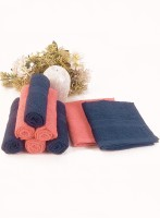Bianca Cotton Face Towel Set(Pack of 8, Navy, Coral)