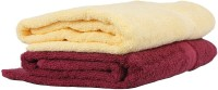 Earthrosystem Cotton Bath Towel Set(Pack of 2, Lemon, Maroon)