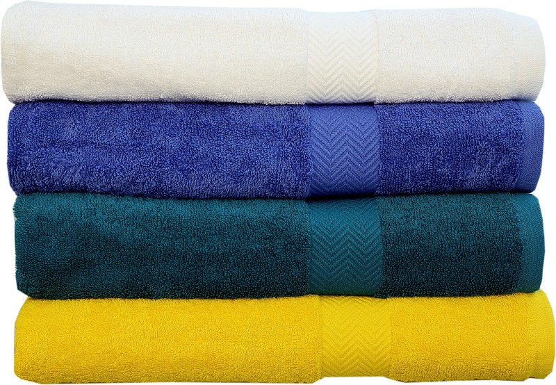 Rakshan Cotton Bath Towel Set(Pack of 4, White, Royal Blue, Dark Blue, Yellow)